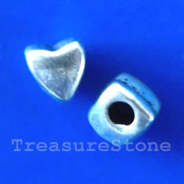 Bead, antiqued silver-finished, 8x7mm heart. Pkg of 15.