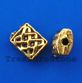 Bead, antiqued gold-finished, 6x7x3mm. Pkg of 20.