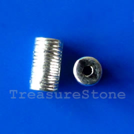 Bead, antiqued silver-finished, 4x7mm tube. Pkg of 20.