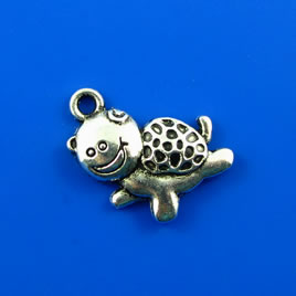 Charm, silver-finished, 17x22mm happy turtle. Pkg of 5.