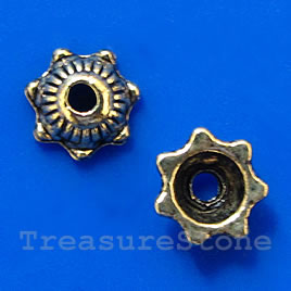Bead cap, antiqued brass finished, 5x2mm. Pkg of 30.