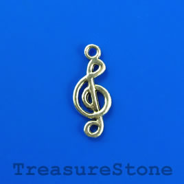 Charm, silver-finished, 8x17mm treble clef. Pkg of 12.
