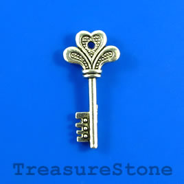 Charm/Pendant, 14x30mm silver-colored key. Pkg of 4.