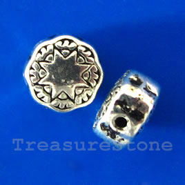 Bead, silver-finished, 8x4mm flat round. Pkg of 15.