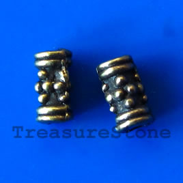 Bead, antiqued brass finished tube, 3x7mm. Pkg of 22.