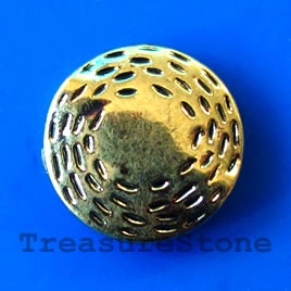 Bead, antiqued gold-finished, 16x4mm. Pkg of 6.