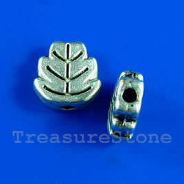 Bead, silver-finished, 7mm flat leaf. Pkg of 20.