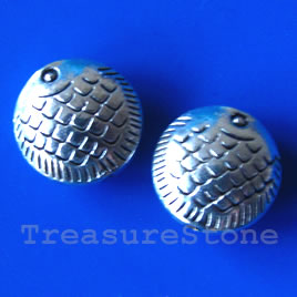 Bead, antiqued silver-finished, 14x7mm fish. Pkg of 5.