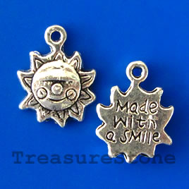 Charm/pendant, 12mm, Made with a Smile. Pkg of 15.