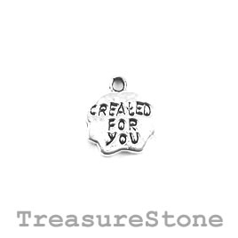 "Charm/Pendant, silver-plated, 10mm ""Created For You"". Pack of 11"