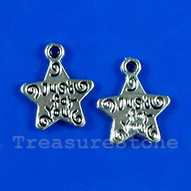 "Pendant/charm, 12mm"" Just For You"" star. Pkg of 15."
