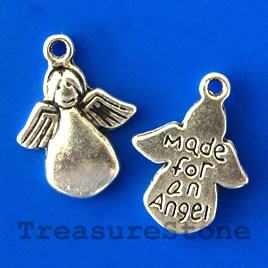 Charm/pendant, Made for an Angel, 8x14mm. Pkg of 14.