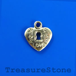 "Charm/pendant, 11x12mm heart lock ""Madw with love"". Pkg of 12."