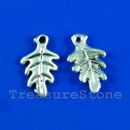 Pendant/charm, silver-finished, 9x13mm leaf. Pkg of 15.