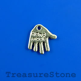 "Charm, 12mm silver-colored hand""Handmade"". Pkg of 10."
