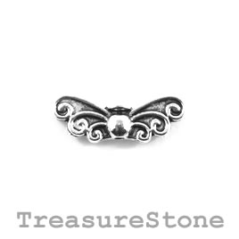 Bead, silver-plated, 8x23mm angel wings. Pkg of 10.