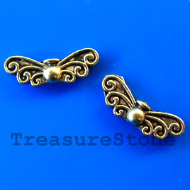 Bead, gold-finished, 8x21x4mm angel wings. Pkg of 8.