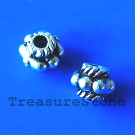 Bead, antiqued silver-finished, 5mm. Pkg of 25.