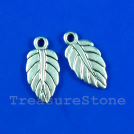Pendant/charm, silver-finished,10x15mm leaf. Pkg of 14.