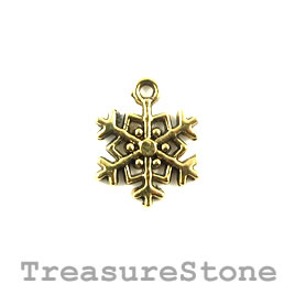 Charm/pendant, gold-plated, 15mm snowflake.Pkg of 8