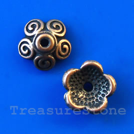 Bead cap, antiqued copper finished, 11x4mm. Pkg of 18.