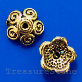 Bead cap, antiqued gold-finished, 11x4mm. pkg of 16.