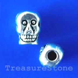 Bead, antiqued silver-finished, 8x5mm skull. Pkg of 15.
