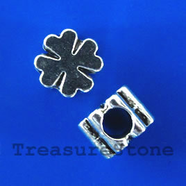 Bead, antiqued silver-finished, large hole, 10mm flower. 10pcs