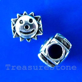 Bead, silver-finished, large hole, 5mm, 8x10mm sun face. 10pcs