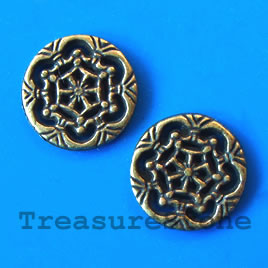 Bead, antiqued brass finished, 18x2mm. Pkg of 8.