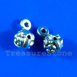 Bead, silver-finished, 7mm guru. Pkg of 15.