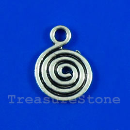 Pendant/charm, silver-finished, 13mm swirl disk. Pkg of 12.