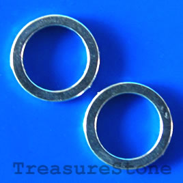 Bead, silver-finished, 15mm ring. Pkg of 15.