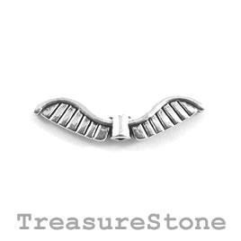 Bead, silver-plated, 8x27mm angel wings. Pkg of 10.