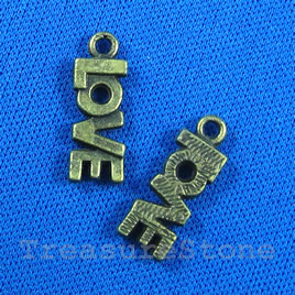 Pendant/charm, brass-finished, 8x18mm love. Pkg of 11.