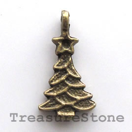 Pendant/charm, brass-finished, 17x12mm christmas tree. Pkg of 12