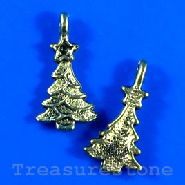 Pendant/charm, gold-finished, 17x12mm christmas tree. Pkg of 12.