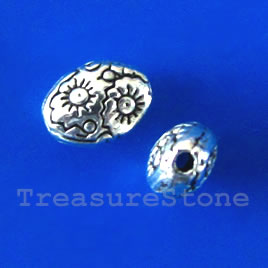 Bead, antiqued silver-finished, 5x8x4mm oval. Pkg of 20.
