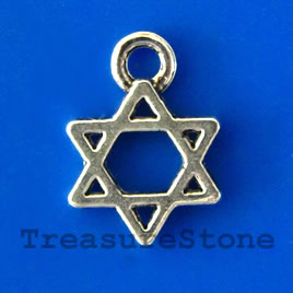 Charm/pendant, silver-plated, 10mm Star of David. Pkg of 20.