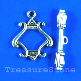 Clasp, toggle, antiqued silver-finished, 18x19mm. Pkg of 5.