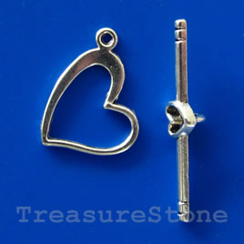 Clasp, toggle, silver-finished,14mm heart. Pkg of 10.