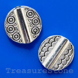 Bead, silver-finished, 10x3mm flat round. Pkg of 12.