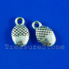 Charm, silver-finished, 7x9mm. Pkg of 16.