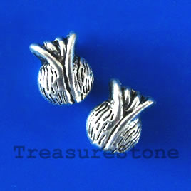 Bead, silver-finished, 11x8x5mm flower. Pkg of 8.