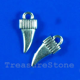 Pendant/charm, silver-finished, 6x12mm. Pkg of 20,