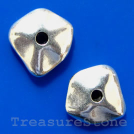 Bead, antiqued silver-finished, 10x11x4mm. Pkg of 10.