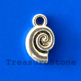 Charm, silver-plated, 7x10mm snail. Pkg of 18.
