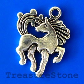 Pendant/charm, silver-finished, 20mm horse. Pkg of 6.