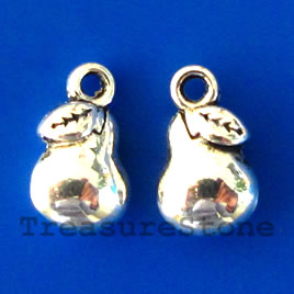 Charm/pendant, silver-plated, 7x9mm pear. Pkg of 15.