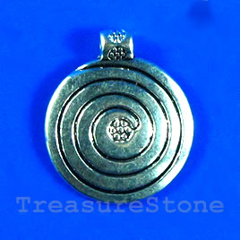 Pendant/charm, silver-finished, 18mm swirl disk. Pkg of 6.